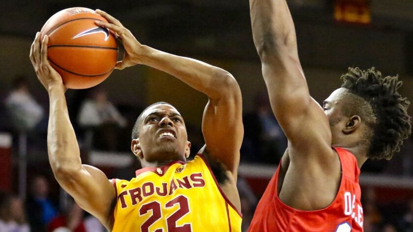 11/25/2016 - LOS ANGELES, CA: USC guard De'Anthony Melton shoots against the defense of Southern Met
