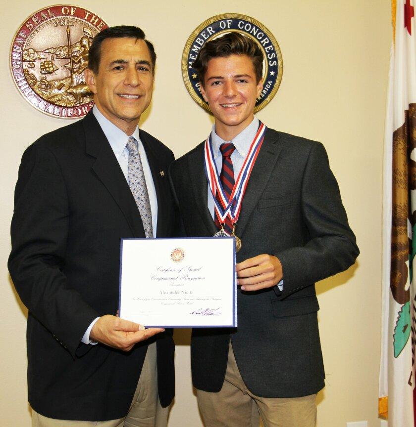 Rancho Santa Fe Art Competition winner and Congressional Award Bronze and Silver Medalist Alexander Nicita with Congressman Darrell Issa.
