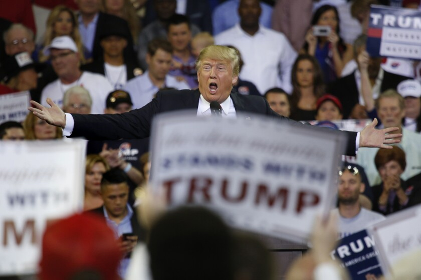 Donald Trump at a rally in Orlando, Fla., in 2016.