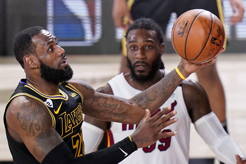 The Lakers' LeBron James drives to the basket during Game 5 of the NBA Finals on Friday.