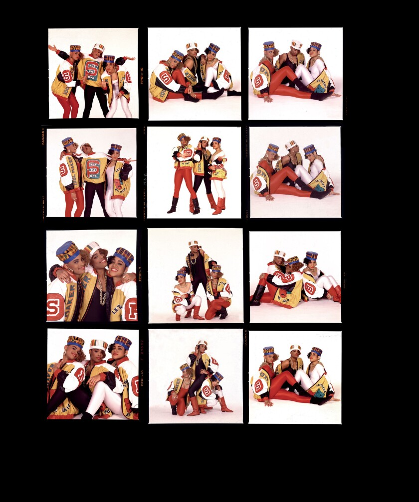 A contact sheet containing photographs of Salt-n-pepa New York City, 1987 by photographer Janette Be