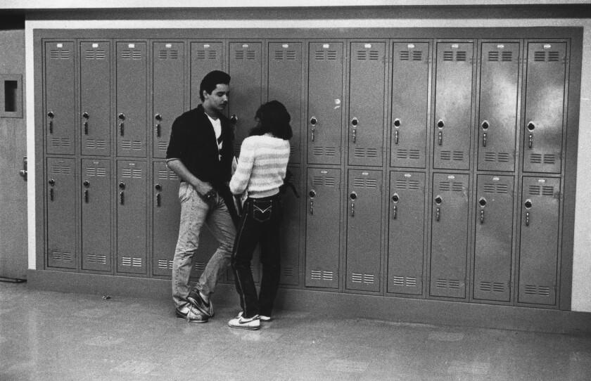 Students between classes at Garfield High School.