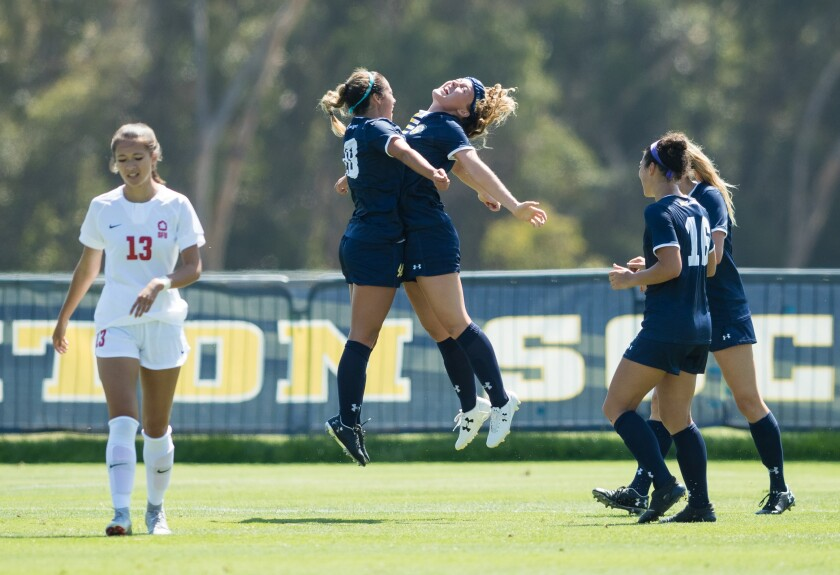 UC San Diego players Christina Oddone (left) and Emily Killeen celebrate a goal earlier this season in a win over Simon Fraser.