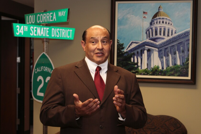 The state Senate passed legislation from Sen. Lou Correa, shown in 2012, to regulate the sale of medical marijuana in California.
