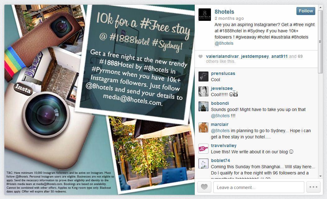 Got 10,000 Instagram followers? A Sydney hotel will let you