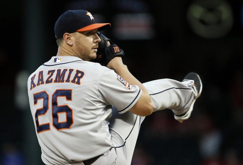 Scott Kazmir pitches for Houston in September.
