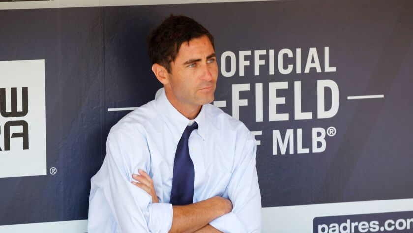 Padres general manager A.J. Preller looks on before a game against the Dodgers at Petco Park.
