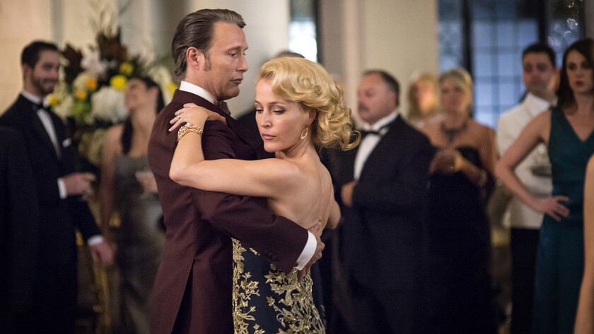 "Mads Mikkelsen and Gillian Anderson in ""Hannibal"" on NBC."