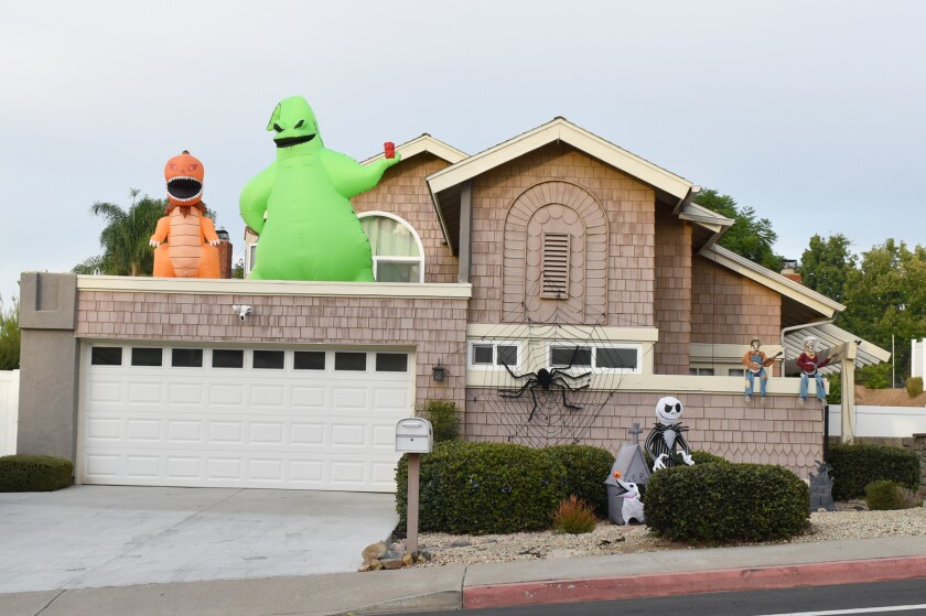 A home on the 11300 block of Duenda Road in Rancho Bernardo's Westwood neighborhood with Halloween decorations.
