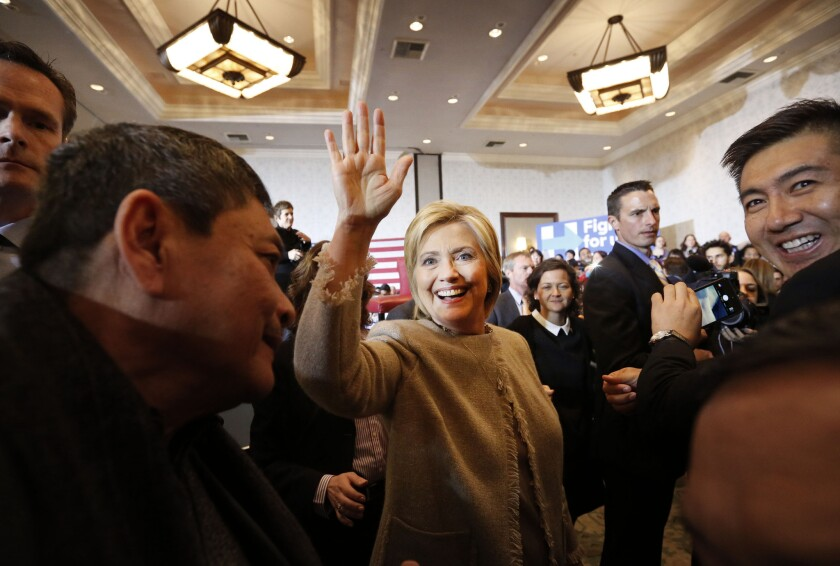Presidential candidate Hillary Clinton at a campaign stop at the Hilton hotel in San Gabriel.