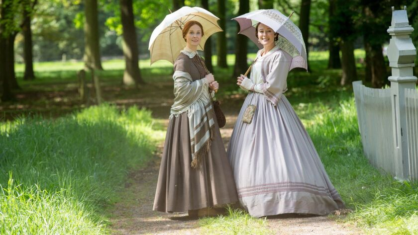"""Cynthia Nixon as Emily Dickinson and Jennifer Ehle as Vinnie Dickinson in """"A Quiet Passion."""""""
