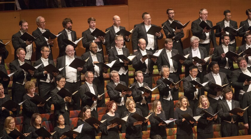 The Los Angeles Master Chorale performs under the direction of Gustavo Dudamel Thursday in Disney Hall.
