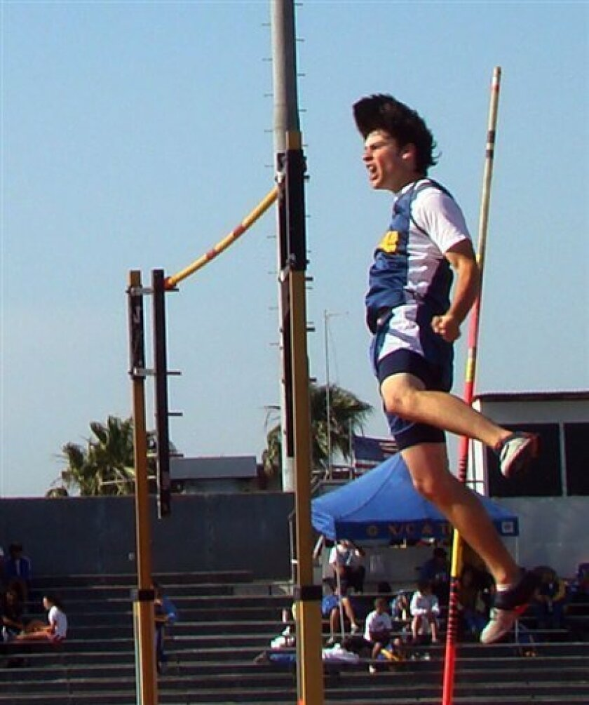 This 2008 photo provided by the Roach family shows Leon Roach hitting a 15 foot high jump at Huntington Beach High during the Orange County Championships. Leon Roach, a college pole vaulter died after after missing the landing pad and hitting his head on concrete during practice Thursday Sept. 3, 2009. Roach died Saturday at the hospital. (AP Photo/Courtesy Roach Family)