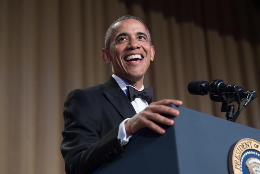 President Obama speaks at the White House Correspondents' Association dinner in Washington on Saturday.
