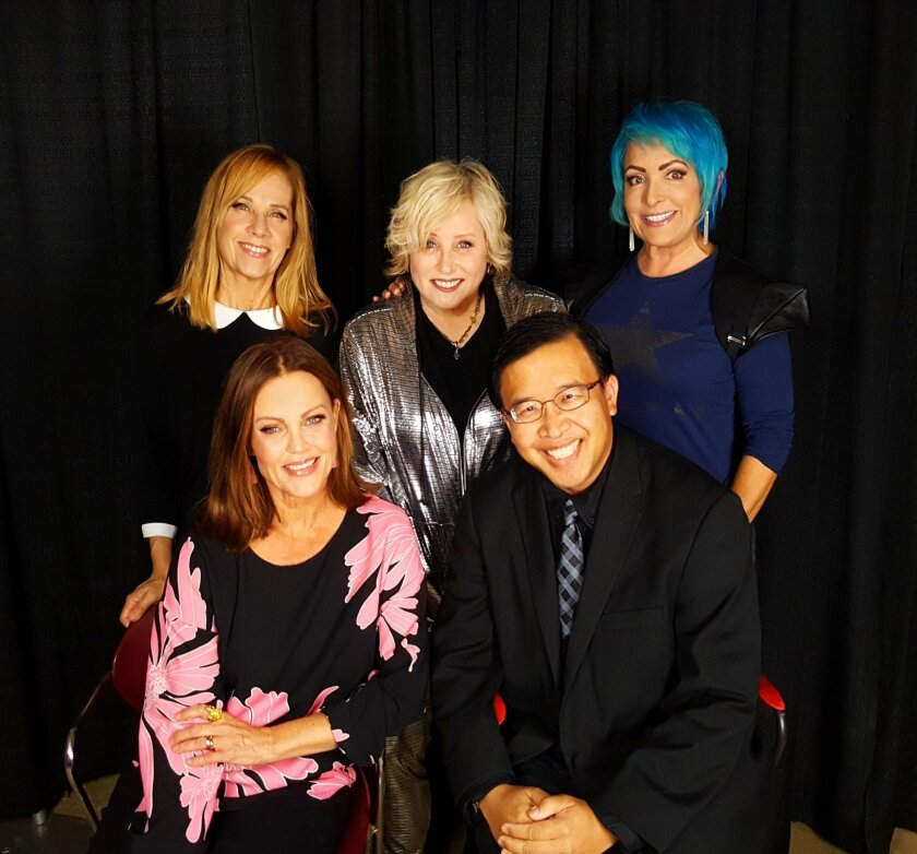 Journalist Daniel K. Lew (bottom right) meets The Go-Go's right before the band's final concert on their Farewell Tour; Aug. 30, 2016 at the Greek Theatre in Los Angeles. Front: Lead singer Belinda Carlisle. Back: Lead guitarist/keyboardist Charlotte Caffey, drummer Gina Schock and rhythm guitarist Jane Wiedlin.
