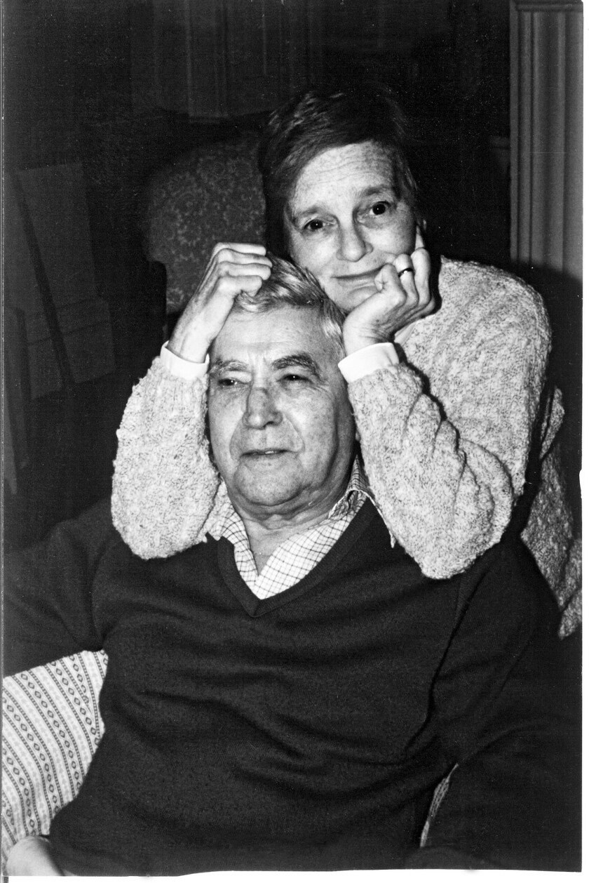 """(L-R)- A photograph of Kate Mulgrew's father, Thomas James """"T.J."""" Mulgrew II, and mother, Joan Virgi"""
