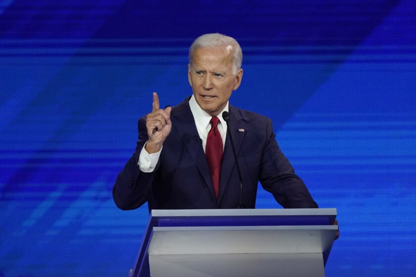 Former Vice President Joe Biden responds to a question Thursday, Sept. 12, 2019, during a Democratic presidential primary debate hosted by ABC at Texas Southern University in Houston.