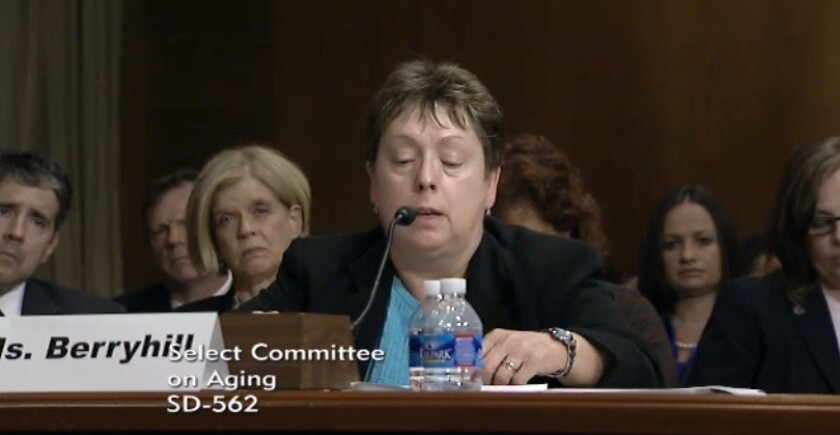 Nancy A. Berryhill, deputy Social Security commissioner, defends agency's field office closures at Wednesday's hearing.
