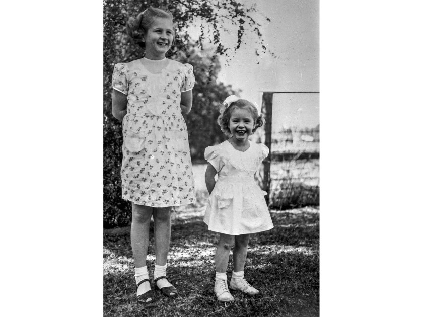 December 1948 photo of Kathy Fiscus, right, with her sister Barbara, 9.