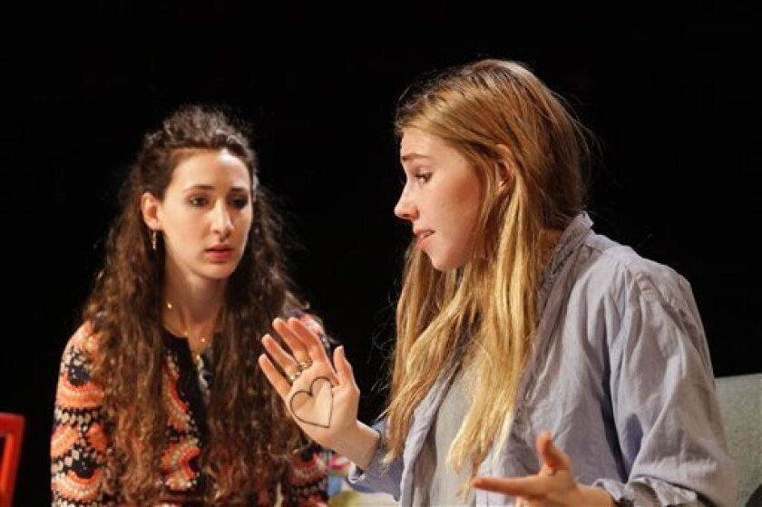 "This theater image released by the O+M Company shows Lauren Culpepper, left, and Zosia Mamet, in a scene from MCC Theater's production of ""Really Really"", performing off-Broadway at the Lucille Lortel Theatre in New York. (AP Photo/The O + M Company, Janna Giacoppo)"