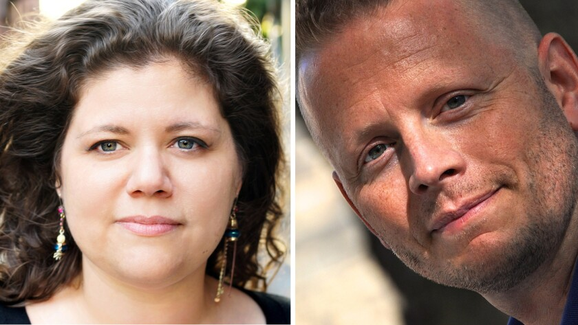 """""""Carry On"""" author Rainbow Rowell, left, and """"The Rest of Us Just Live Here"""" author Patrick Ness."""
