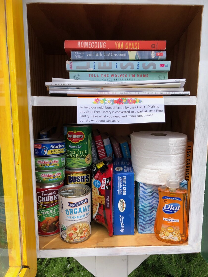 A Carmel Valley Free Little Library has transitioned to offering items that people need.
