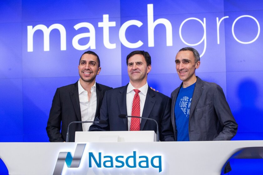 Tinder co-founder Sean Rad, left, with former Match Group CEO Greg Blatt, center, and OkCupid co-founder Sam Yagan. Blatt says in a defamation suit against Rad that Rad is using a sexual harassment claim by another former Tinder executive to discredit him in a lawsuit over Tinder's valuation.