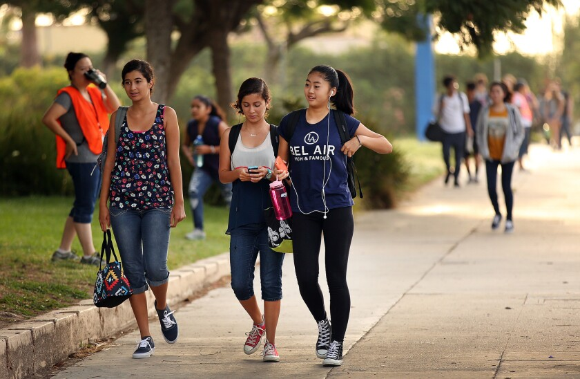 Students arrive for classes at the Los Angeles Center for Enriched Studies in 2015.