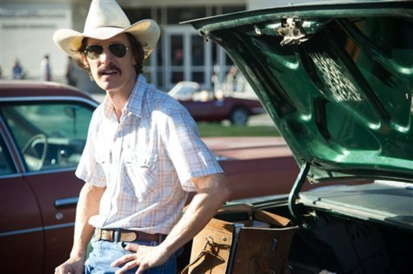 """This image released by Focus Features shows Matthew McConaughey as Ron Woodroof in a scene from """"Dallas Buyers Club."""" (AP Photo/Focus Features, Anne Marie Fox)"""