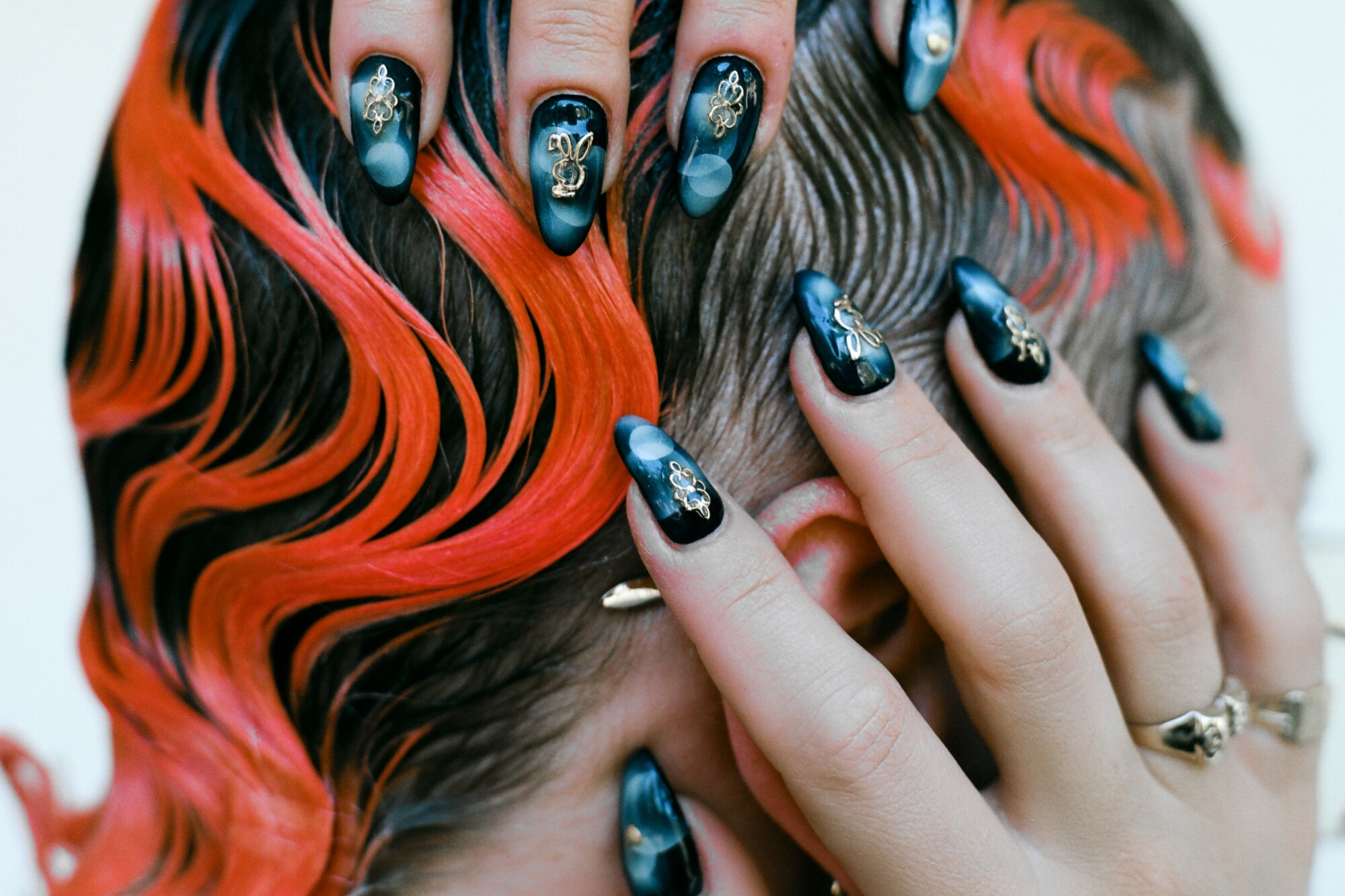 Model shows the nail work of Lila Robles, airbrush nail artist for the Image magazine, issue 5 - Beauty