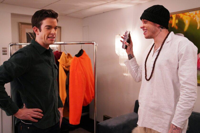"""Saturday Night Live"" host John Mulaney, left, with cast member Pete Davidson."