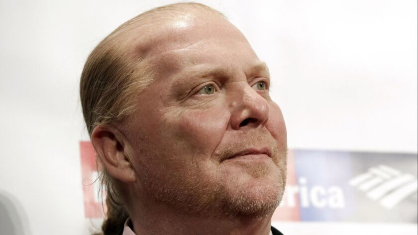 FILE - In this Wednesday, April 19, 2017, file photo, chef Mario Batali attends an awards event in N
