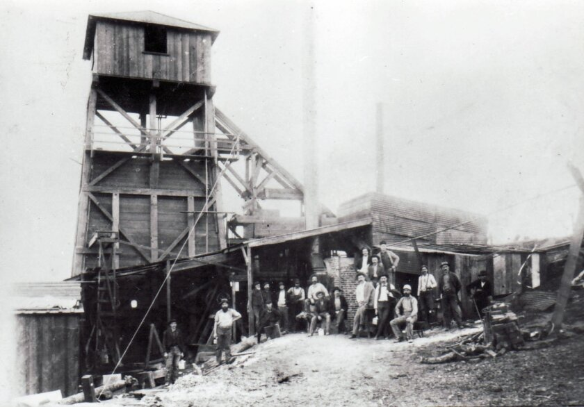 The Cleveland Pacific mine, in 1896. Earlier, it had been known as the Escondido mine. Escondido History Center Photo Collection.