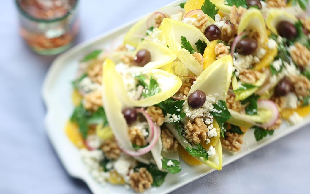 Feta, endive and orange salad