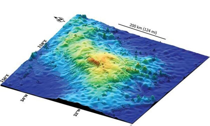 A three-dimensional map shows the elevation of Tamu Massif in the northwestern Pacific Ocean, off Japan. It appears to be one continuous shield volcano, the largest on Earth and rivaling Olympus Mons, on Mars.