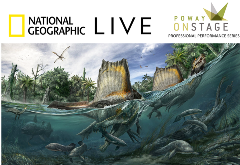 """A promotional image for National Geographic Live's """"Reimaging Dinosaurs."""""""