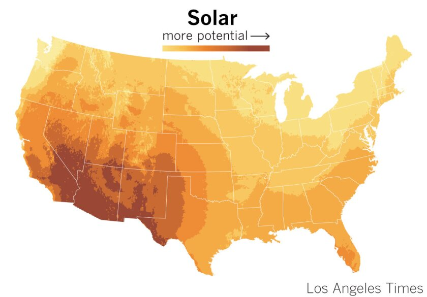 Solar potential in lower 48 states