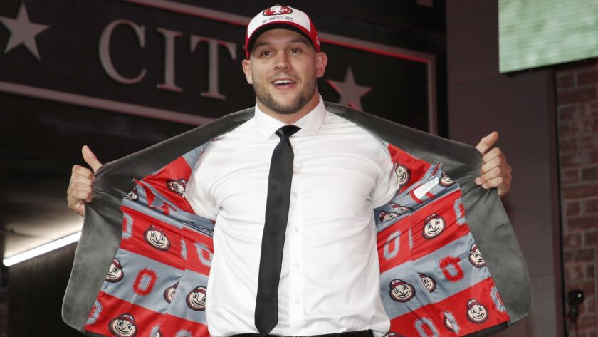 Ohio State defensive end Nick Bosa enters the main stage after the San Francisco 49ers selected Bosa