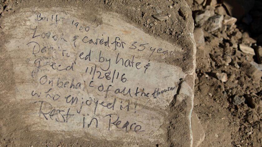 An inscription along the shoreline at Lunada Bay.