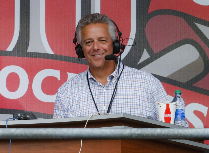 Cincinnati Reds broadcaster Thom Brennaman is shown in a Sept. 25, 2019, file photo.
