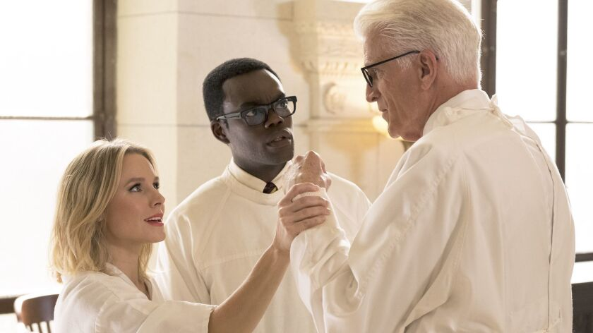 "Kristen Bell as Eleanor, with William Jackson Harper as Chidi and Ted Danson as Michael, in a scene from ""The Good Place."""