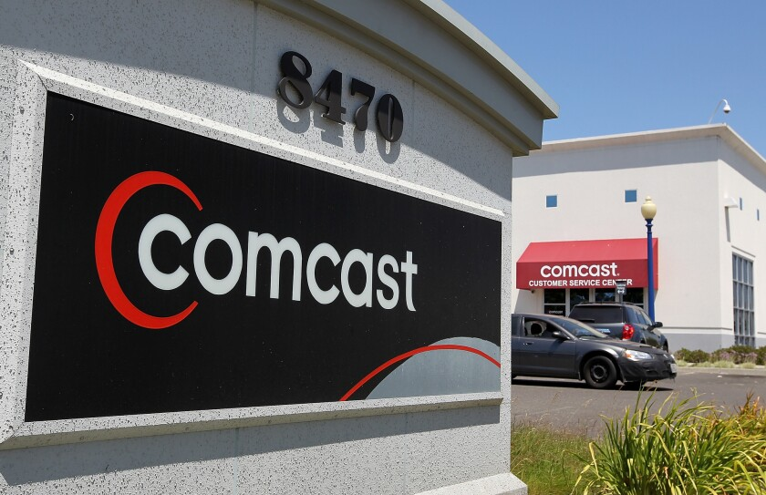 A Comcast customer service center in Oakland is pictured. California Atty. Gen. Kamala Harris announced a nearly $26-million settlement with cable giant Comcast for not properly disposing of used electronics.