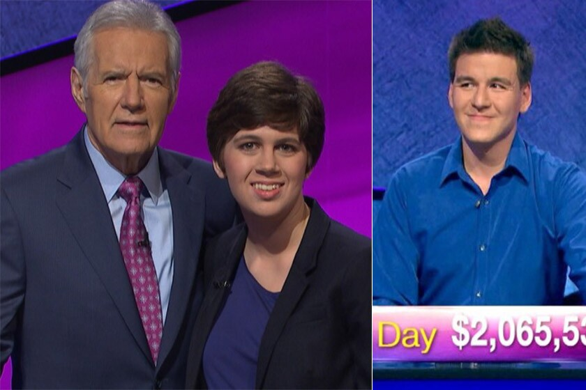 """Emma Boettcher, pictured with """"Jeopardy"""" host Alex Trebek, will face James Holzhauer in the Tournament of Champions."""