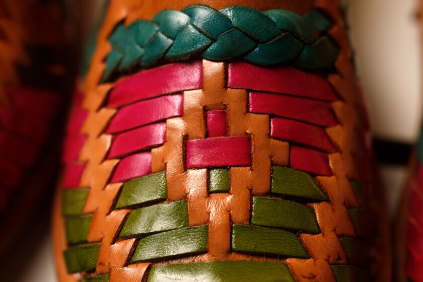 A detail of a huarache made by Maria Silva and her family.