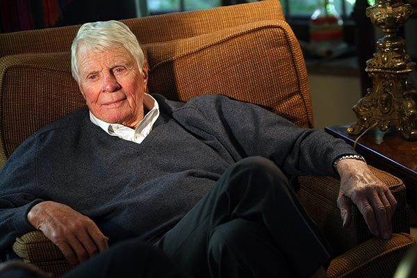 """Actor Peter Graves was photographed in December 2009 at his home. Graves starred in the TV series """"Mission: Impossible"""" and the films """"Night of the Hunter"""" and """"Stalag 17."""" Graves was found dead Sunday at his Pacific Palisades home. He was 83."""