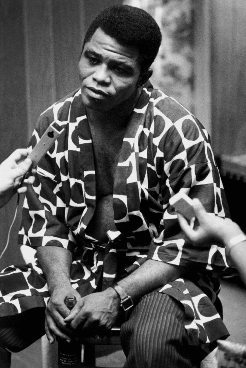 Singer James Brown being interviewed after he performed at the Apollo in 1968, from the documentary 'The Apollo'
