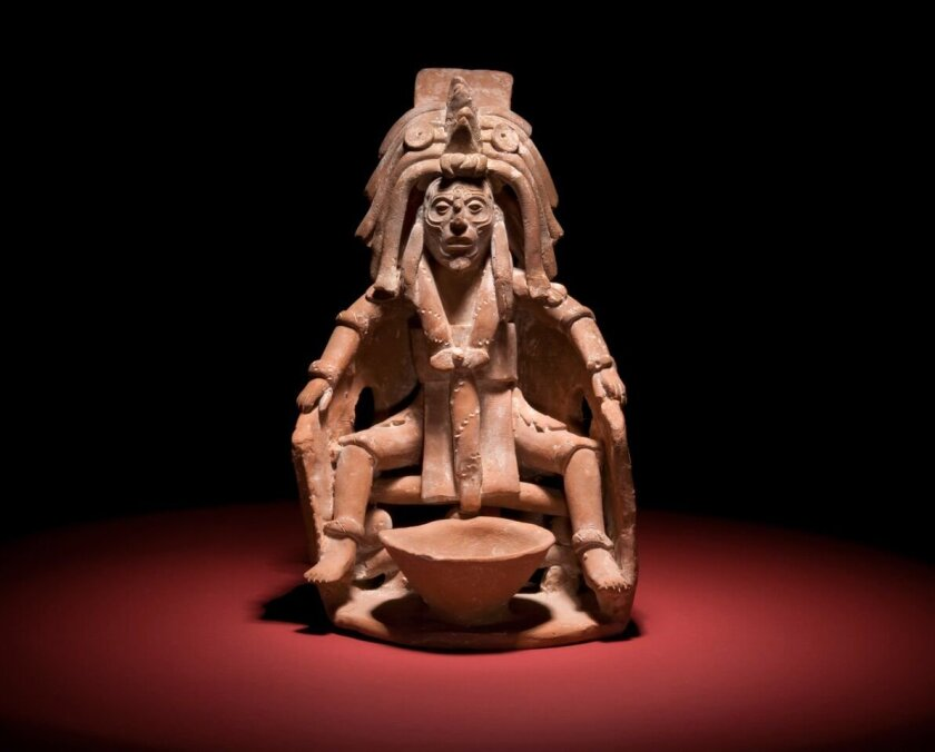 A Mayan blood-letting bowl is one of hundreds of artifacts in the exhibit.