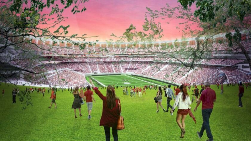 The Manchester Financial plan calls for rehabbing Qualcomm Stadium and adding housing and commercial development park space that spills out from the reopened east side of the stadium.