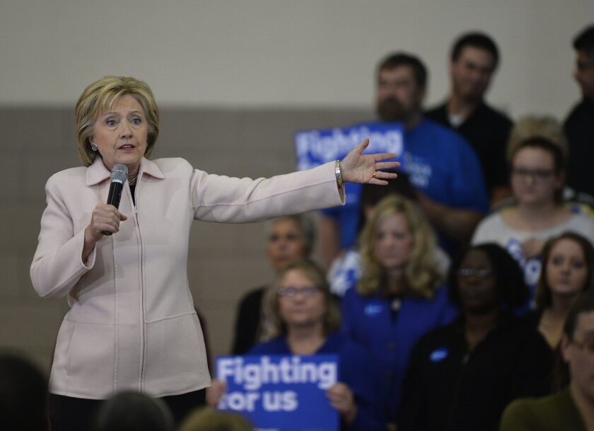 Hillary Clinton campaigns for the Iowa Caucus