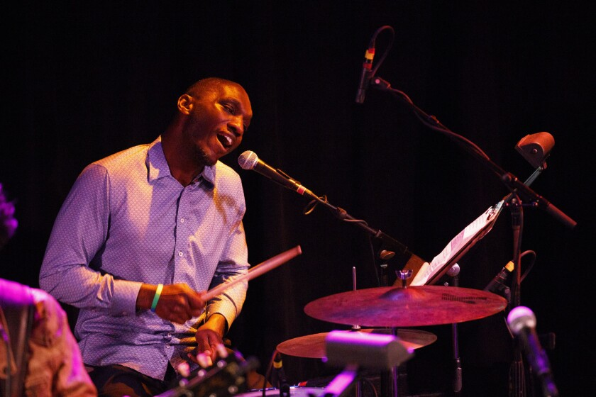 Drummer Cedric Burnside performs during a tribute to John Prine at The Troubadour on Saturday, Febru